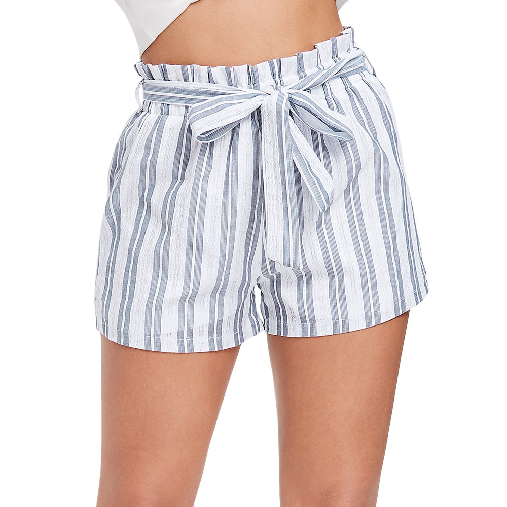 High Waist Stripe Spliced Lace Belted Women Mini Shorts