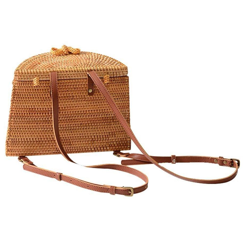 Straw Woven Backpack