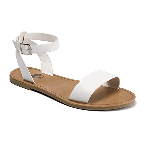Trary Ankle Strap and Metal Buckle Summer Flat Sandals