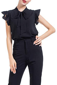 Bow Tie Blouse with Ruffle Cap Sleeve
