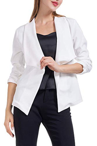 Casual Blazer Work Office Business Jacket Open Front Draped Cardigan 3/4 Ruched Sleeve