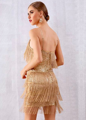 Sexy V Neck Sequin Tassels Fringe Dress