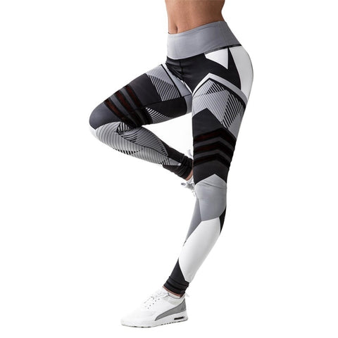 Women Quick Dry Sport Fitness Leggins Geometric Printed Yoga Pants