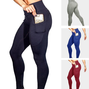 High Waist Elastic Leggings With Phone Pocket