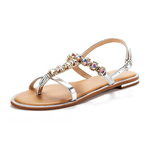 DREAM PAIRS Women's Fantasia Rhinestones Design Sling Back Flat Sandals