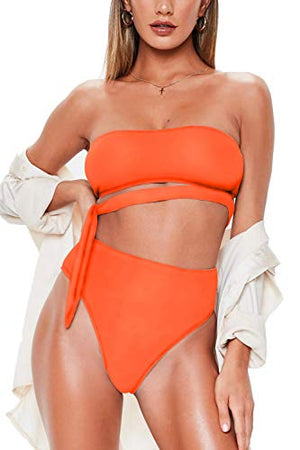 High Waist Bikini Sets Bandeau Tie Side Bathing Suits