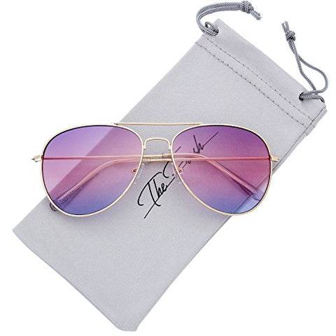 The Fresh Classic Large Metal Frame Oceanic Color Lens Aviator Sunglasses