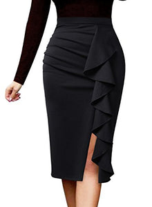 Elegant Ruched Ruffle Slit Work  Pencil Skirt