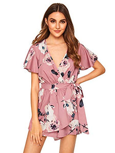 Women's Floral Print Short Sleeve Wrap Romper