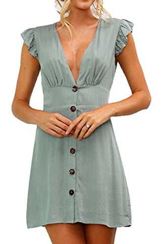 Casual Sleeveless Deep V Neck Button Front Ruffle Mini Dress
