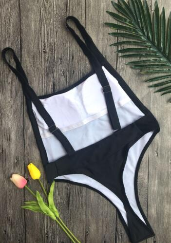 Solid Color One-Piece Swimsuit Bathing Suit Swimwear Tankini