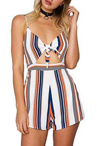 Women's Striped Sleeveless V Neck Tie Front Cutout  Rompers