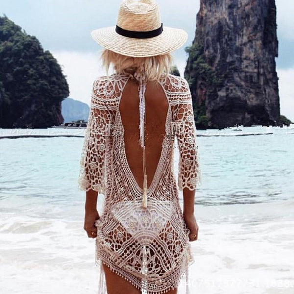 Knit Backless Bikini Cover Up