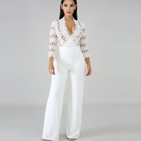 White Long Sleeve Women Jumpsuits
