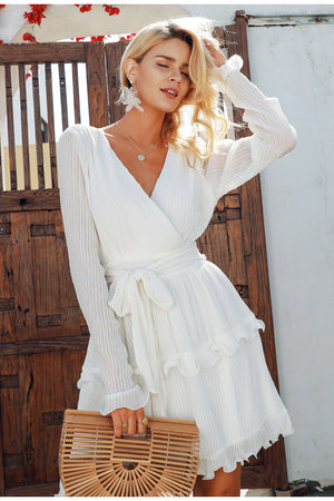 Elegant Pleated Chiffon Women Summer