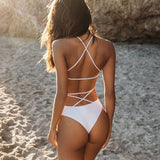 One-piece Swimsuit bikini Lace Up Backless