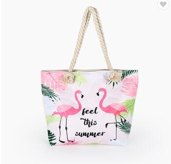 Cute Flamingo Handmade Canvas Bag