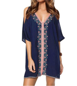 Embroidery Cotton Bathing Suit Cover Up