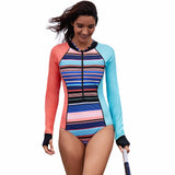 One Piece Long Sleeve Retro Sport Swimsuit