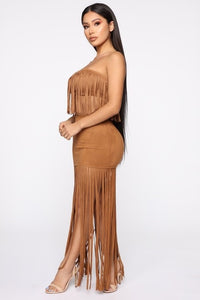 Fringe Tassel Strapless Top and Skirt 2 Piece Velvet Set