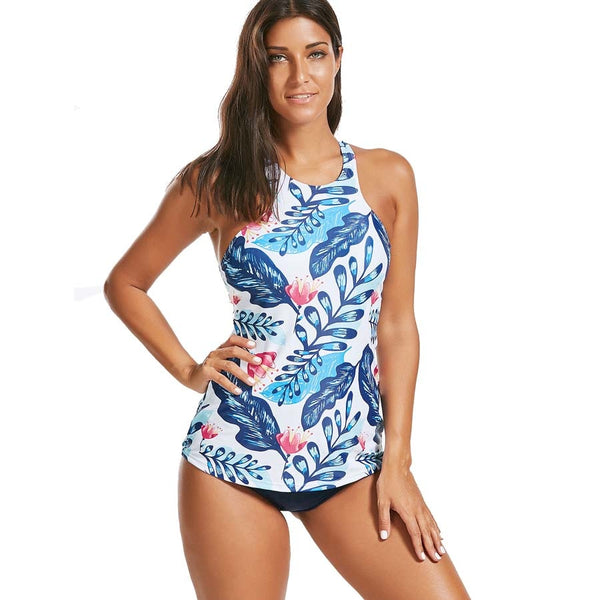 Floral Print Tankini Push Up Swimsuit