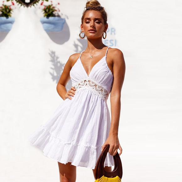 Summer Boho Crochet Lace Ruffle Beach Dresses