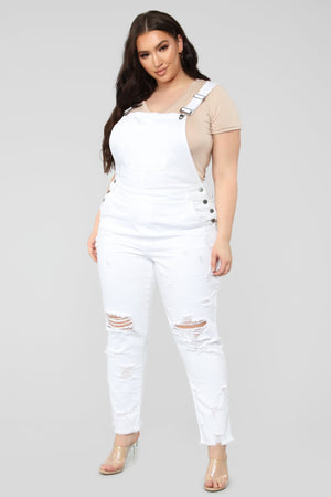 Plus Size white overall