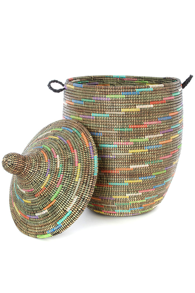 Large Lidded Sable Swirl Senegalese Hamper Basket