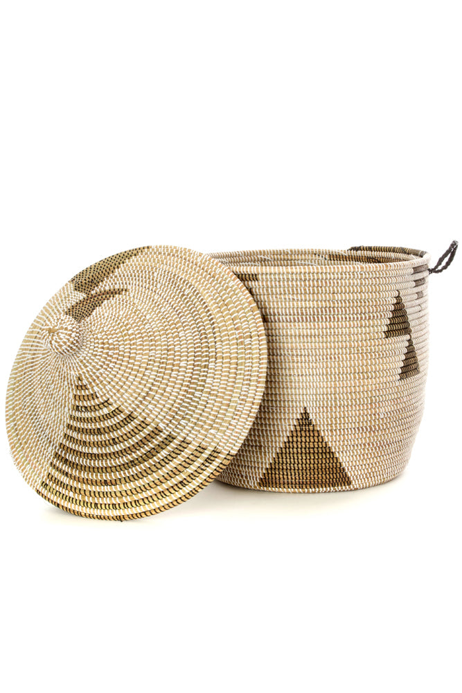 Short + Wide Black + White Triangle Lidded Senegalese Hamper Basket