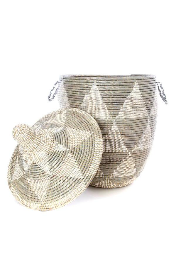 Medium Silver & White Triangle Senegalese Hamper Basket