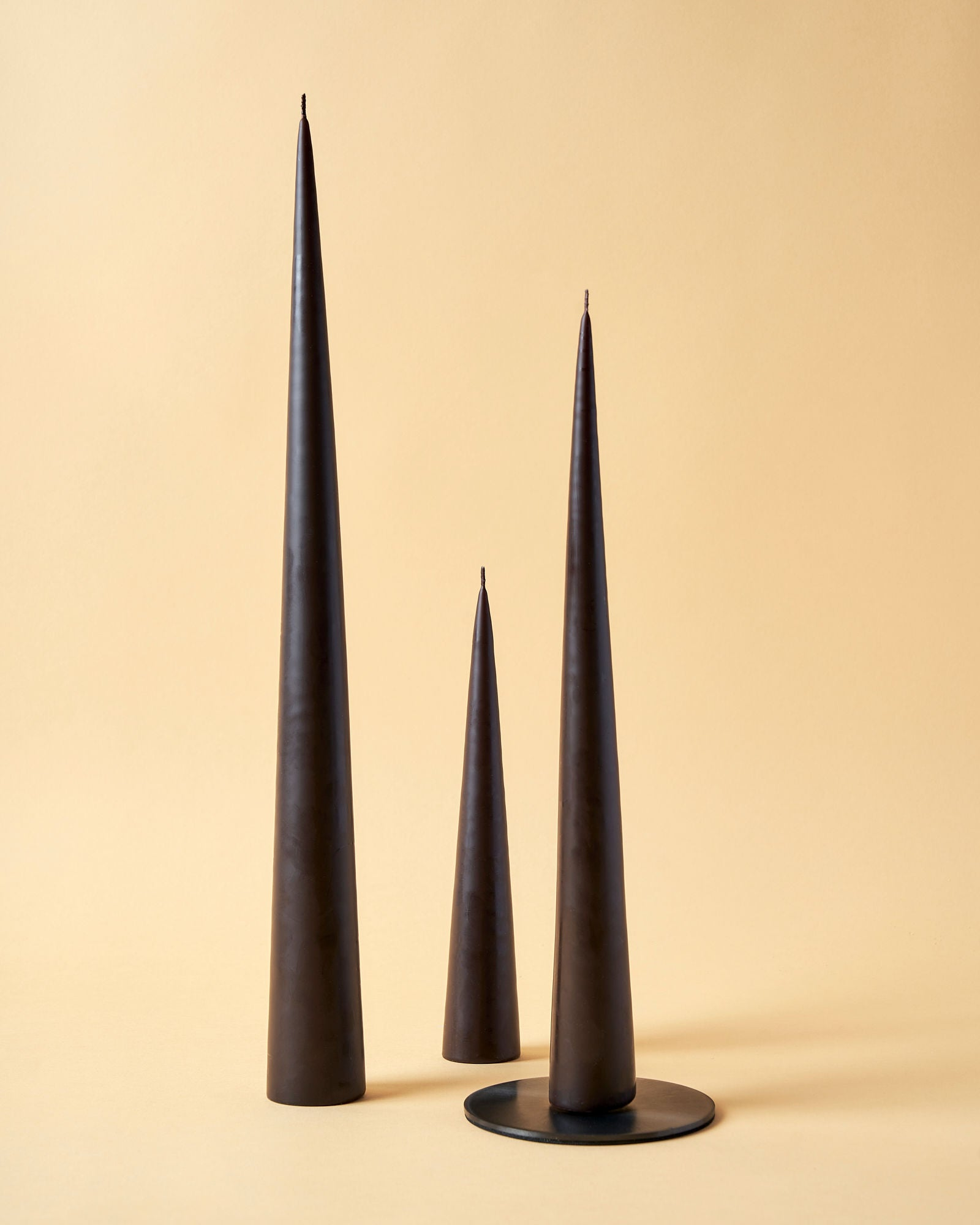 Chocolate Brown Matte Cone Candles by Ester & Erik