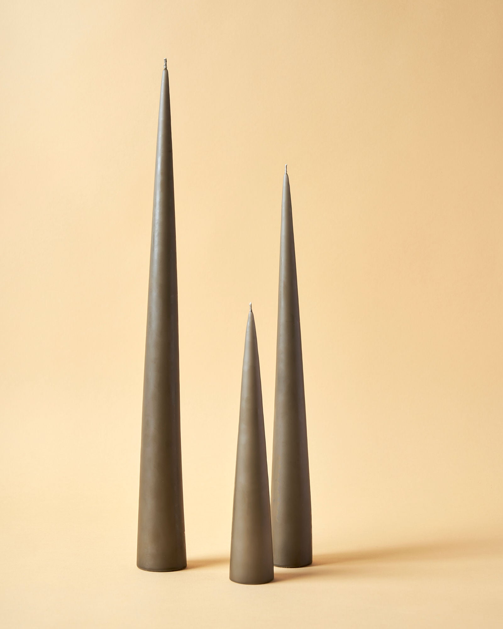 Dusty Brown Matte Cone Candles by Ester & Erik