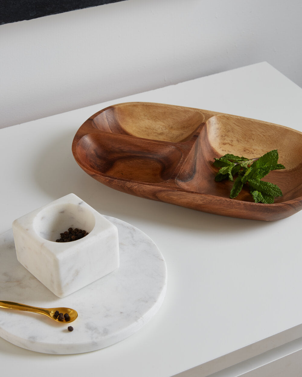 Square Marble Vessel with Spoon