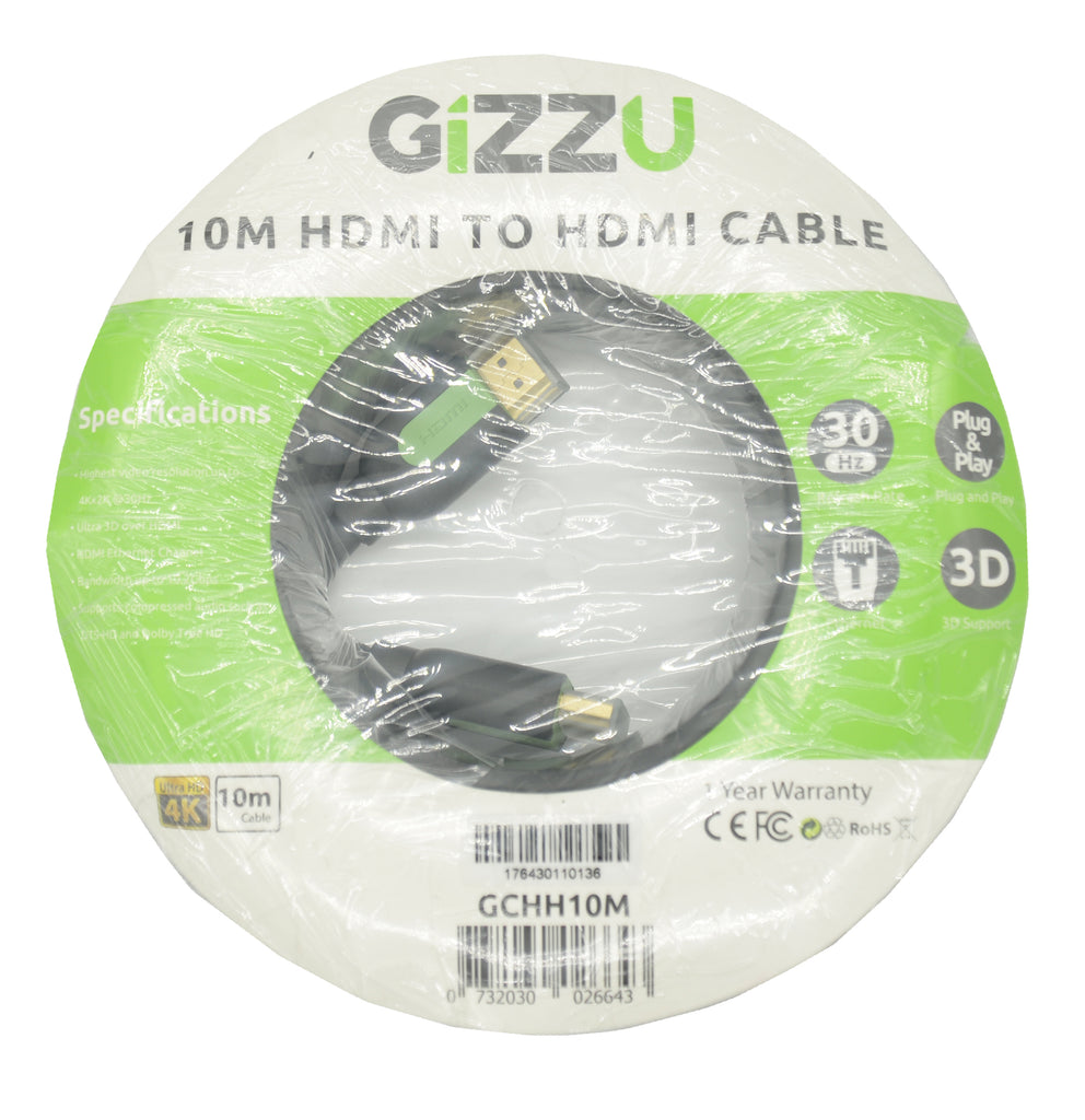 GIZZU High Speed HDMI 10m Cable with Ethernet