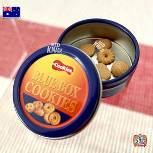 Mini Blue Tin Cookies Set - 1:12 Miniature