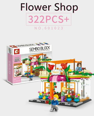 Sembo Block 601023 | Flower Shop with Three Figures | Creative Building Blocks