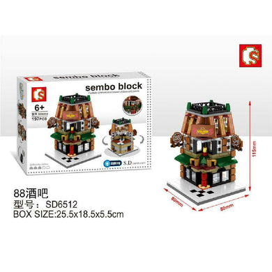 Sembo Block SD6512 | BAR | LIGHTS UP! | Mini Street Building Block w LED Light