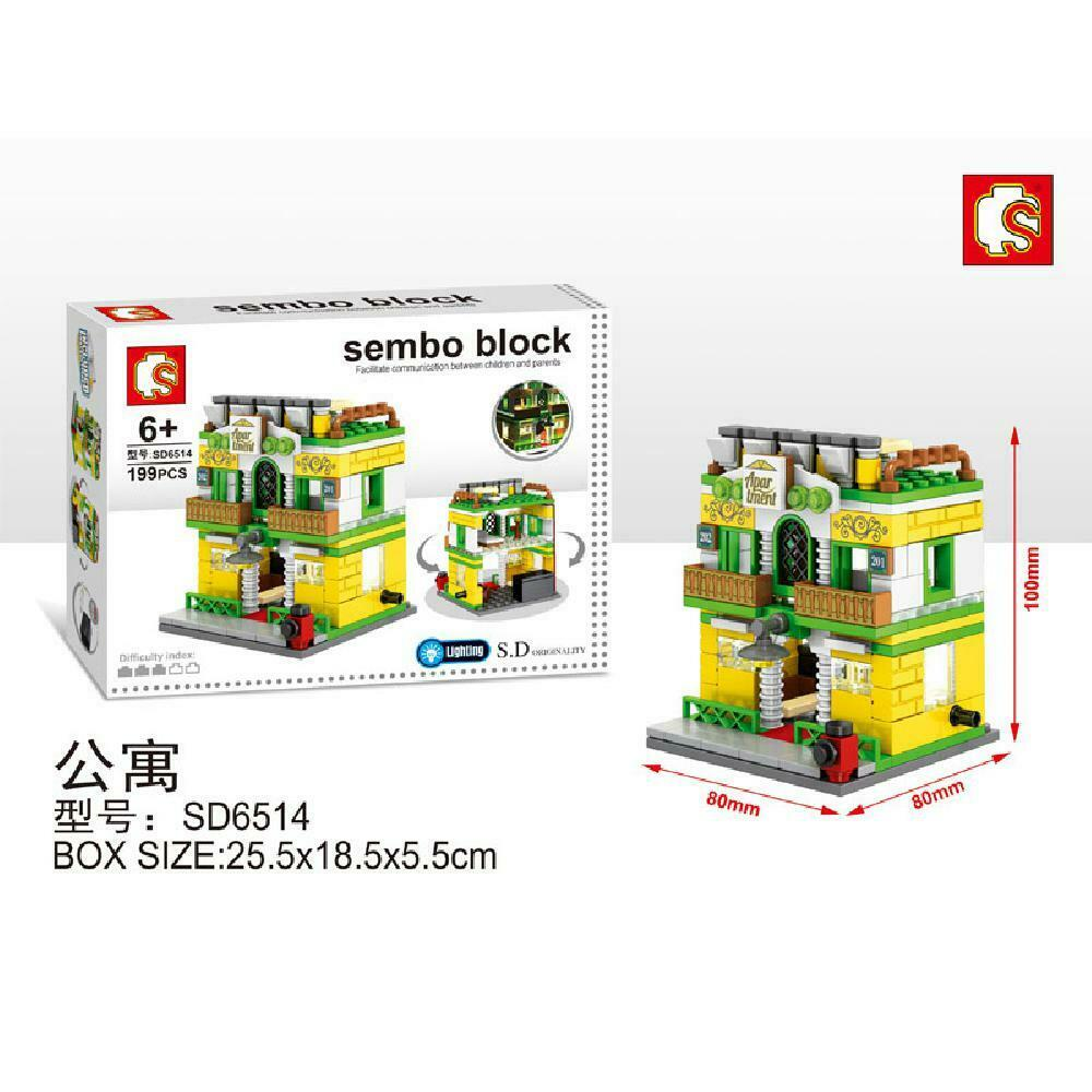 Sembo Block SD6514 | APARTMENT | LIGHTS UP! | Mini Street Building Block w LED Light