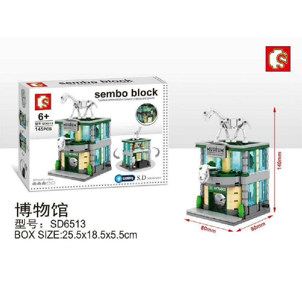 Sembo Block SD6513 | MUSEUM | LIGHTS UP! | Mini Street Building Block w LED Light