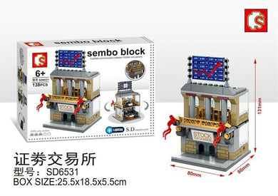 Sembo Block SD6531 | SHARE MARKET | LIGHTS UP! | Mini Street Building Block w LED Light