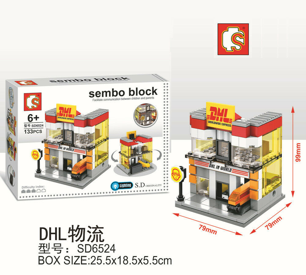 Sembo Block SD6524 | DHL | LIGHTS UP! | Mini Street Building Block w LED Light