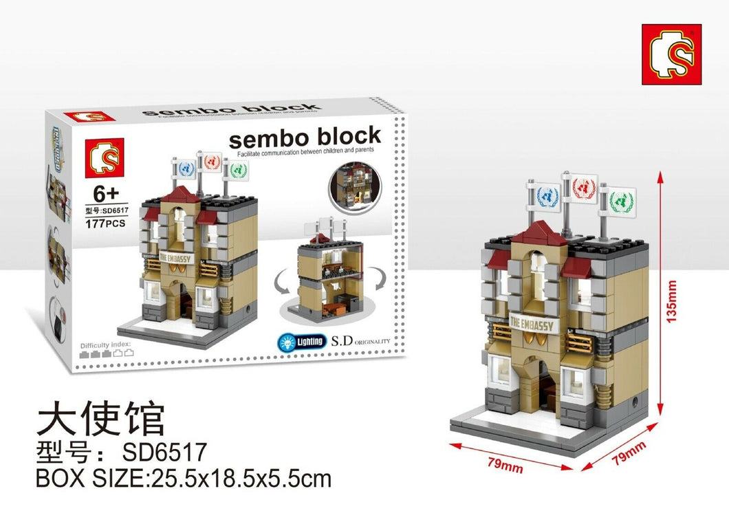 Sembo Block SD6517 | EMBASSY | LIGHTS UP! | Mini Street Building Block w LED Light