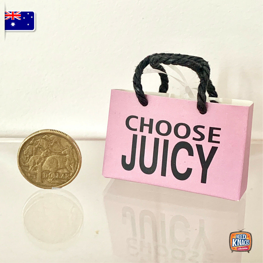 Mini Pink Paper Bag J - Miniature dollhouse 1:12 Miniature