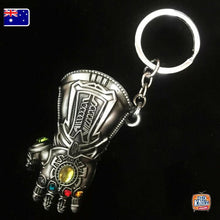 Load image into Gallery viewer, Marvel Avengers Thanos Gauntlet Keyring SILVER Infinity War Keychain End Game AU