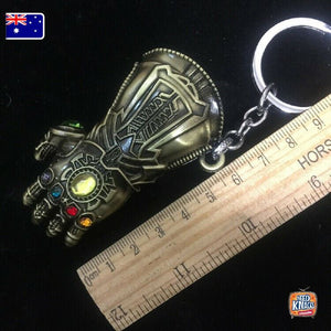 Marvel Avengers Thanos Gauntlet Keyring SILVER Infinity War Keychain End Game AU