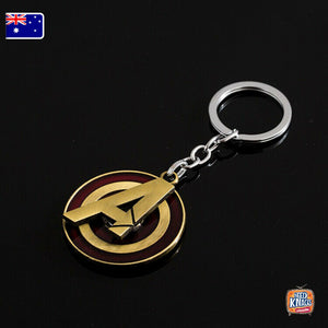 Marvel Avengers A Logo ROTATABLE Keyring BRONZE Infinity War Keychain End Game