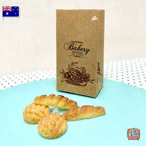 Miniature Bakery Set with Paper Bag and Mini Breads. - 1:12 Miniature
