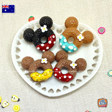 Load image into Gallery viewer, Mini Donuts Set of 4 on Heart-shaped plate! 1:12 Miniature