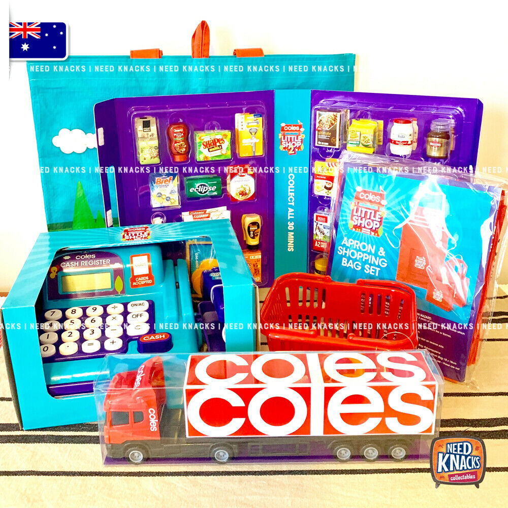 Coles Little Shop 2 Complete Set, Basket, Apron set, Truck, Cash Register & Bag!