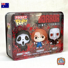 Load image into Gallery viewer, Funko Pocket Pop Horror 3 Pack Tin Funko Ghost Face Chucky and Billy